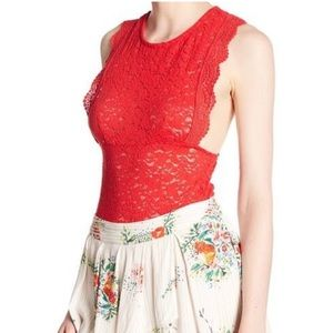 Intimately Free People Red Lace Sleeveless Top NWT